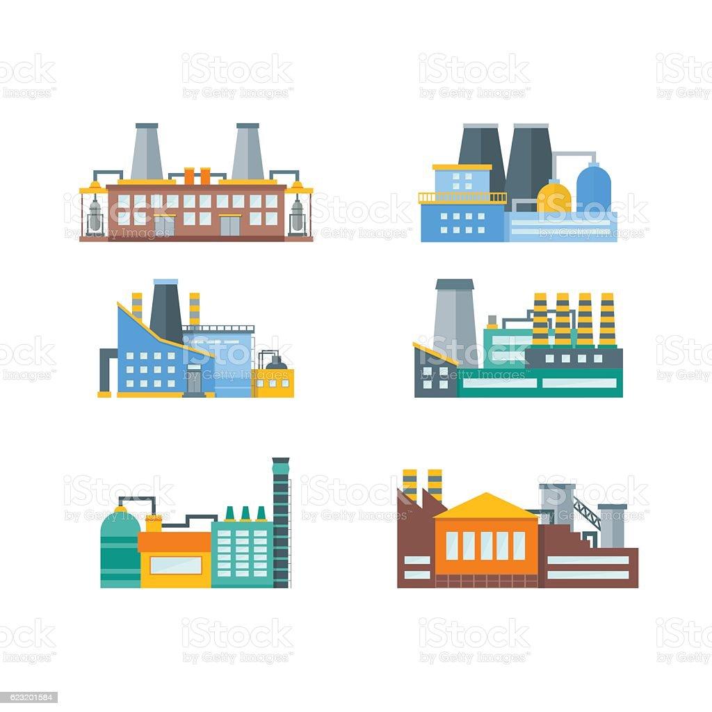 Factory Flat Set. Vector vector art illustration