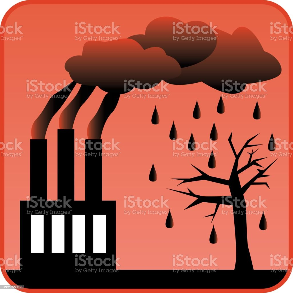 Factory generating toxic air pollution and Acid Rain vector art illustration