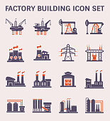 Factory building and industry plant icon.