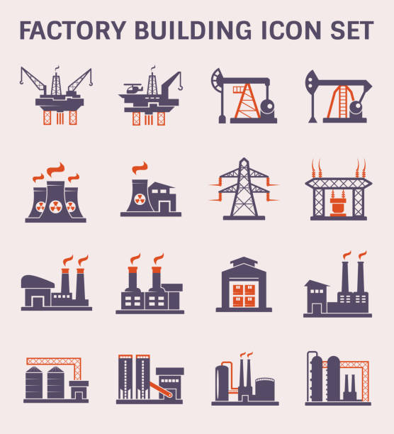 factory icon color Factory building and industry plant icon. power station stock illustrations