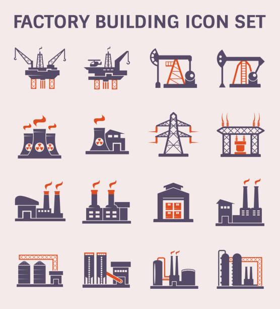 illustrations, cliparts, dessins animés et icônes de couleur de l'icône usine - infographie industrie manufacture production