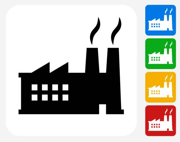 ilustrações de stock, clip art, desenhos animados e ícones de fábrica de ícone flat design gráfico - exhaust white background