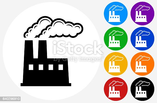 Factory Icon on Flat Color Circle Buttons. This 100% royalty free vector illustration features the main icon pictured in black inside a white circle. The alternative color options in blue, green, yellow, red, purple, indigo, orange and black are on the right of the icon and are arranged in two vertical columns.