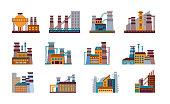 Factory icon set. Set of Industrial factories in flat style isolated on a white background.  industrial building concept. Industrial complex. Power plants with chimneys, pipes and tanks.
