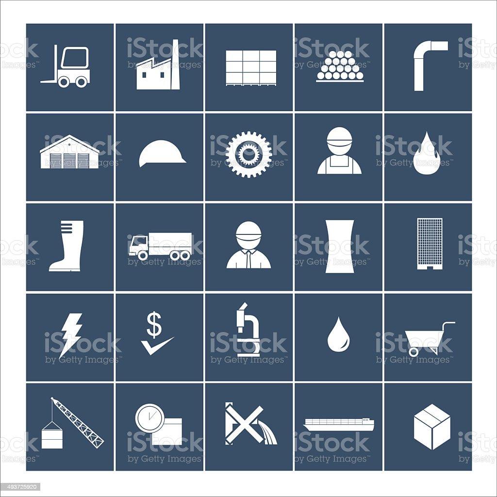 factory icon set vector art illustration