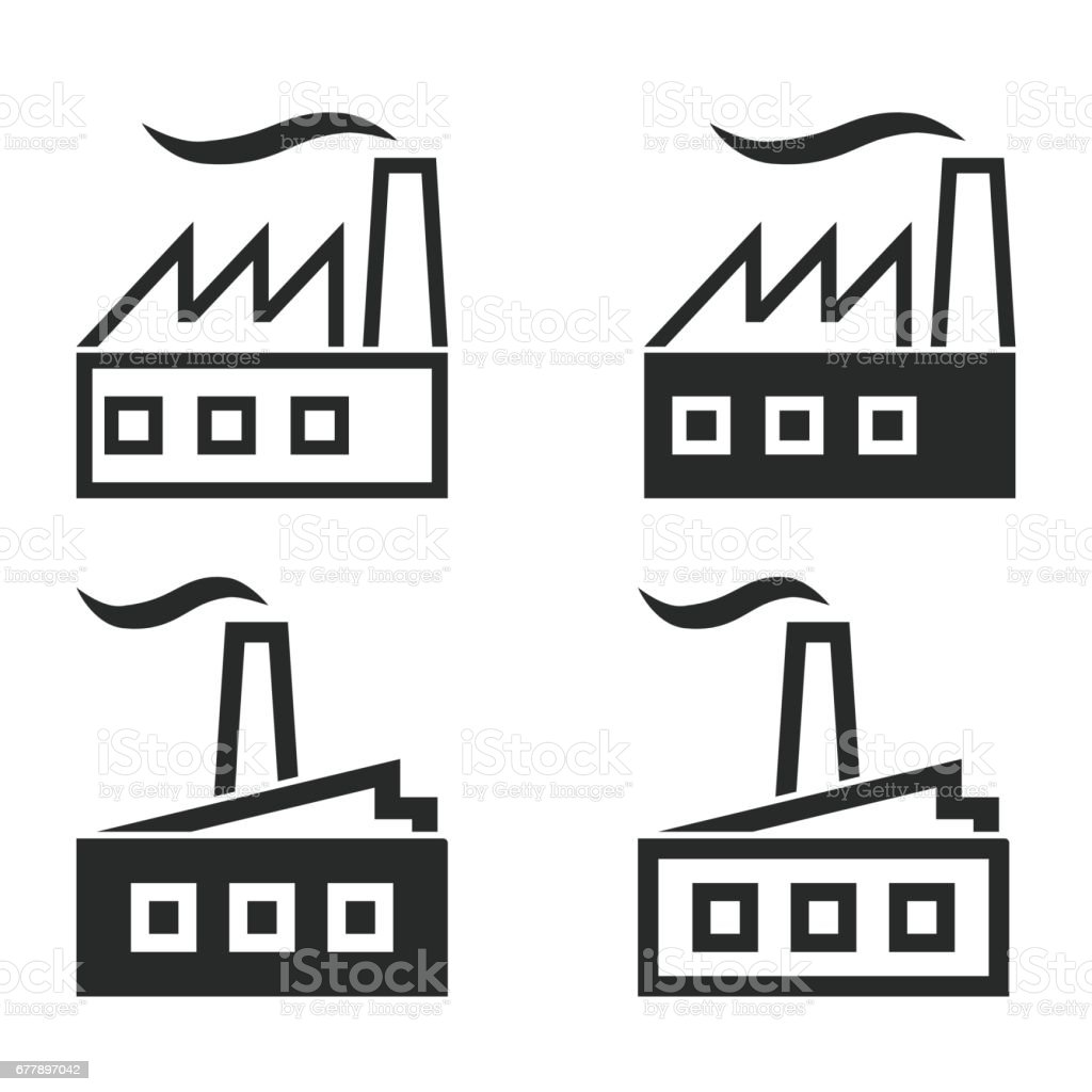 Factory icon set. royalty-free factory icon set stock vector art & more images of art
