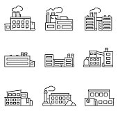 factory icons set. Line with editable stroke