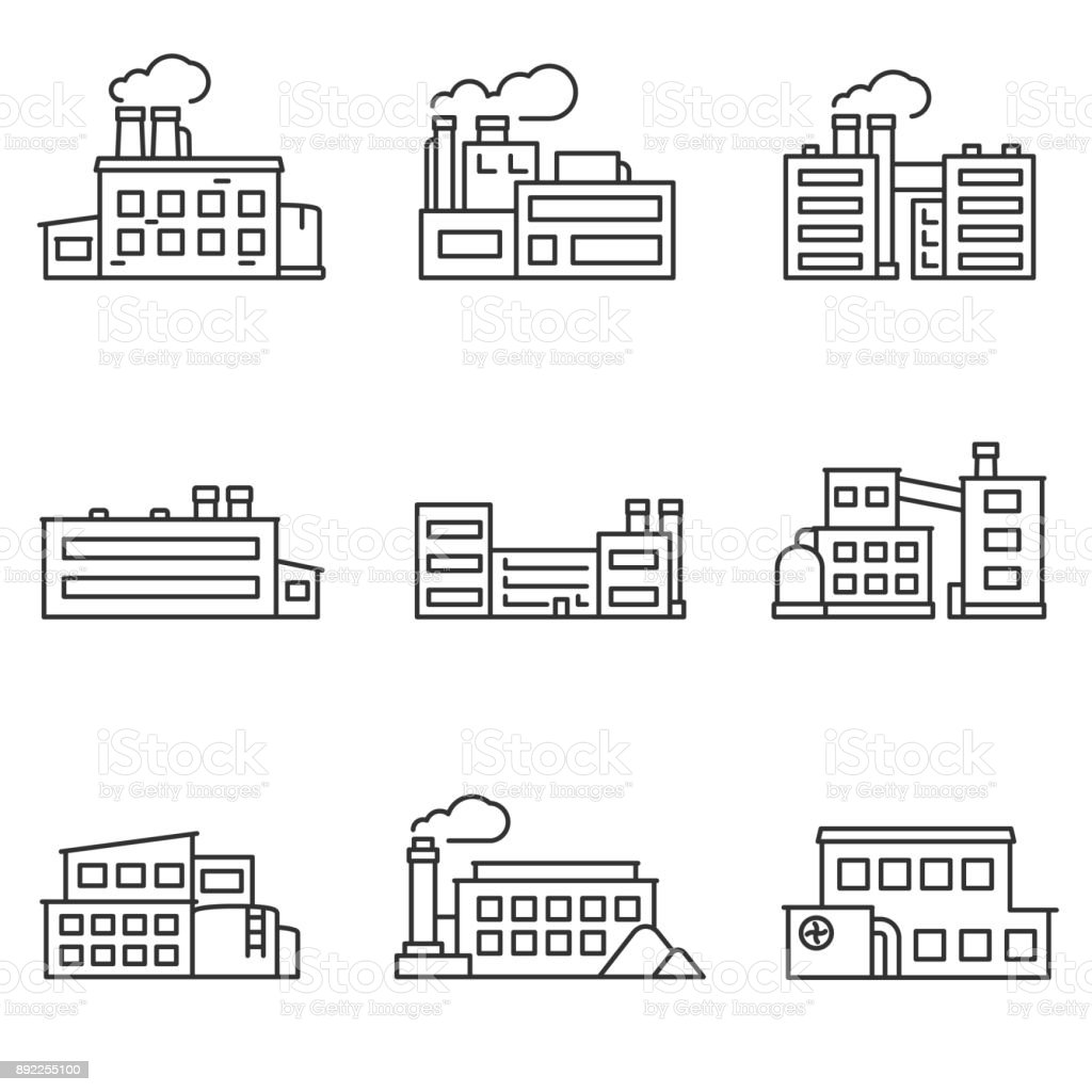 factory icons set. Line with editable stroke vector art illustration