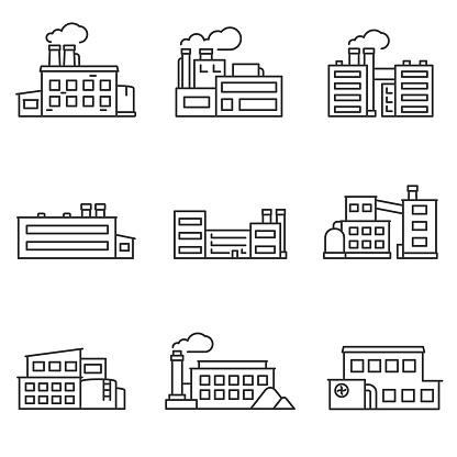 Factory Icons Set Line With Editable Stroke - Immagini vettoriali stock e altre immagini di Affari