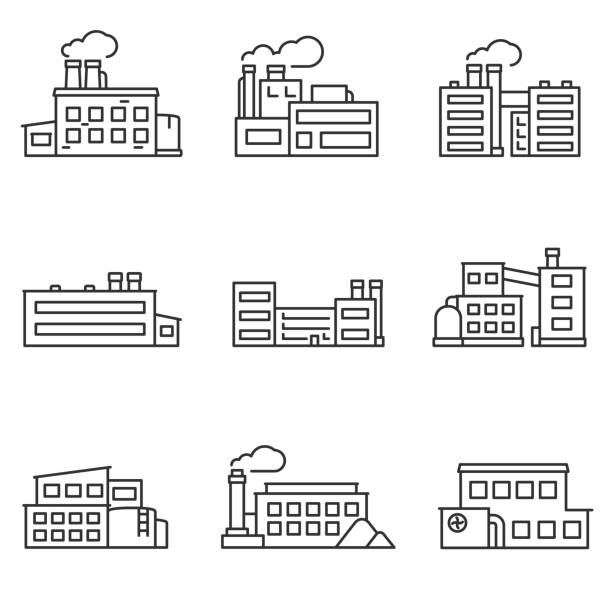 factory icons set. line with editable stroke - plant stock illustrations