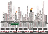 Factory in industrial zone on white background. Concept and idea background. Vector EPS10