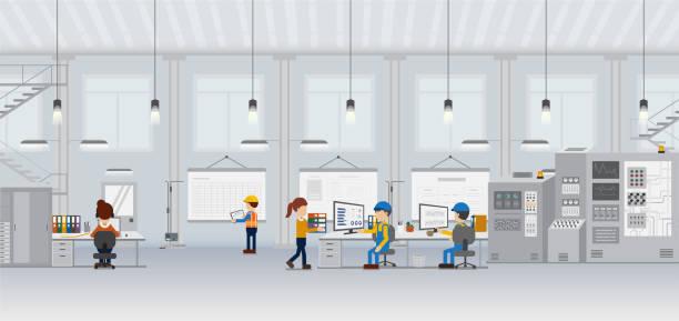 Factory in process vector art illustration