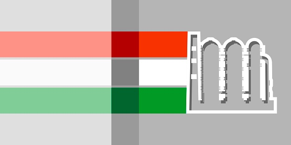Factory industrial icon and flag of Hungary