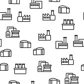 Factory Industrial Vector Seamless Pattern