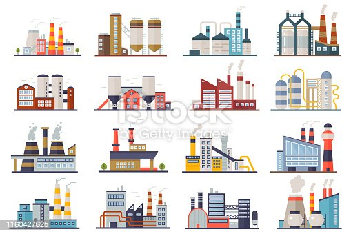 Factory industry manufactory power electricity buildings flat icons set isolated. Urban factory plant landscape vector illustration