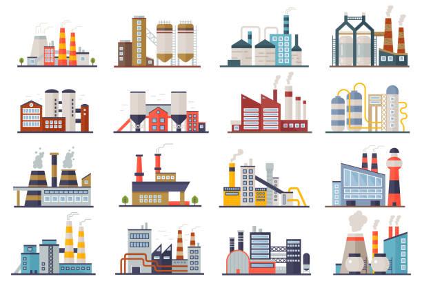 fabryczna manufaktura energii elektrycznej budynków płaskie ikony ustawione izolowane. miejska fabryka roślin krajobraz ilustracji wektorowej. - produkować stock illustrations