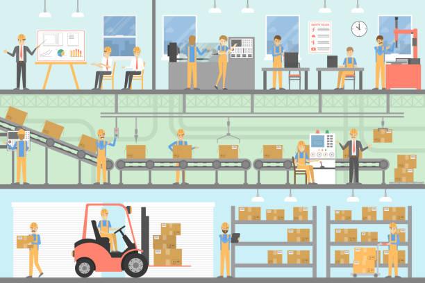 Factory interior set. vector art illustration