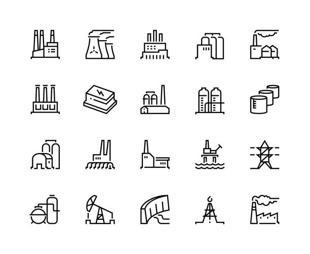 Factory line icons. Industry power, chemical manufacturing building warehouse nuclear energy plant. Industrial factories vector Factory line icons. Industry power, chemical manufacturing building warehouse nuclear energy plant. Industrial factories vector set power station stock illustrations