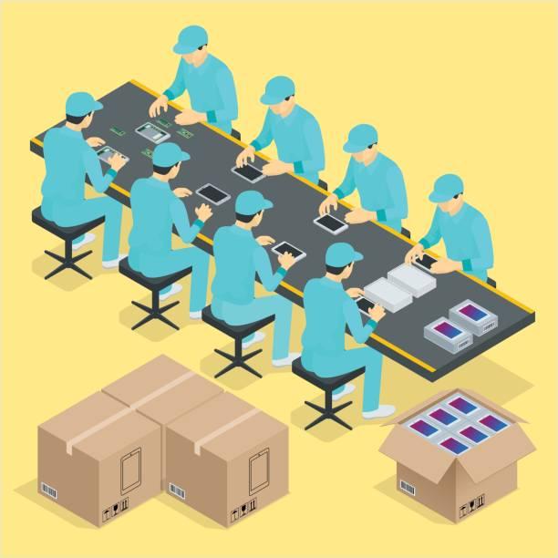 作品とコンベア ベルト工場組立ライン制御製造プロセス等尺性ポスター ベクトル図 - アイソメトリック点のイラスト素材/クリップアート素材/マンガ素材/アイコン素材