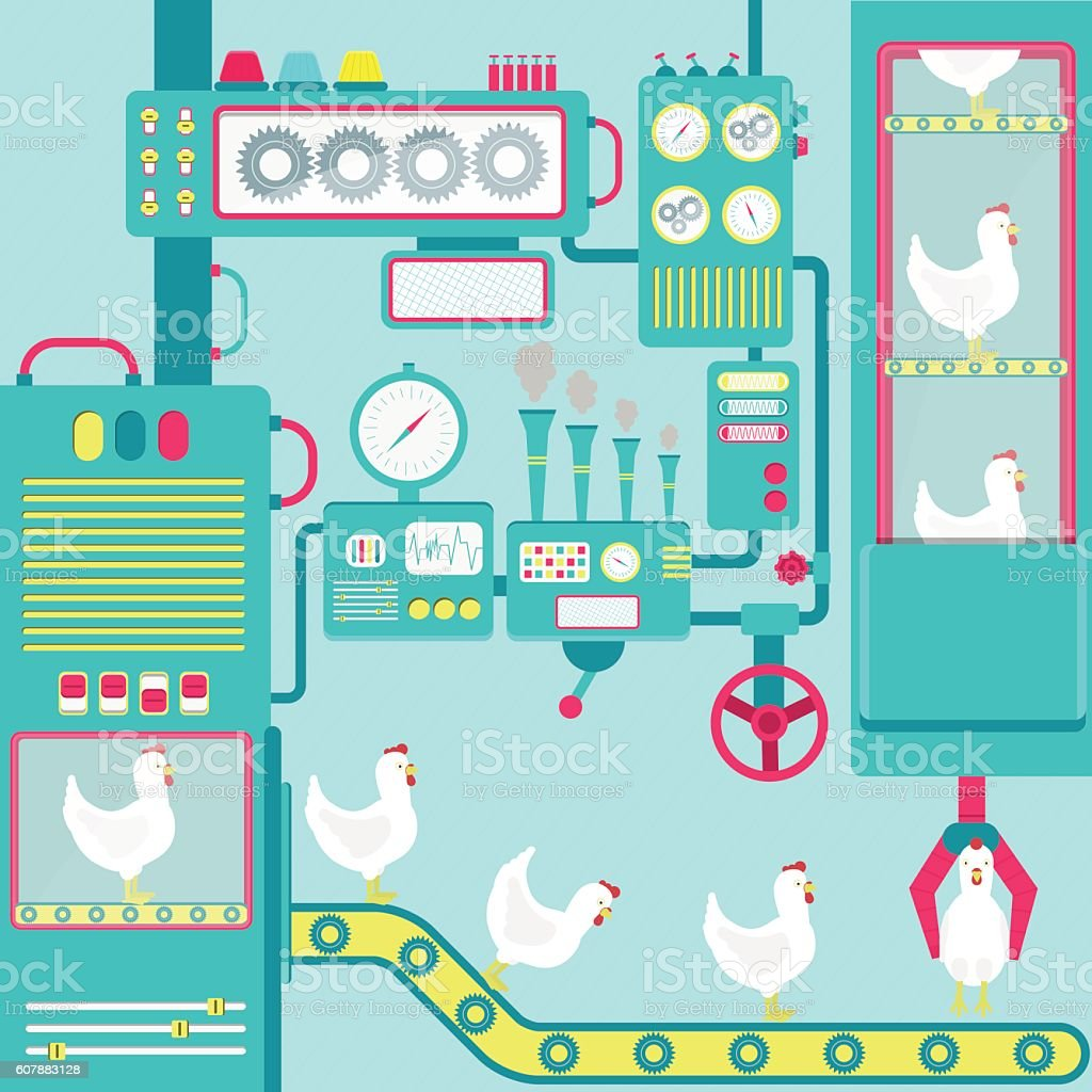 Factory of chickens vector art illustration