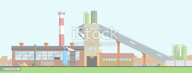 Vector. A typical plant for the production of concrete, mortar, paving slabs and building structures. Urban, industrial landscape.