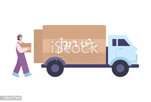 istock Factory or warehouse loader carries boxes to van vector illustration isolated. 1304477943