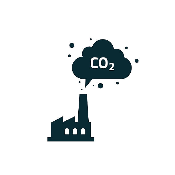 bildbanksillustrationer, clip art samt tecknat material och ikoner med factory plant silhouette chimney polluting co2 emissions cloud smoke vector - co2