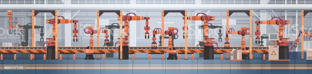 Factory Production Conveyor Automatic Assembly Line Machinery Industrial Automation Industry Concept vector art illustration