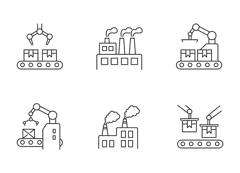 Factory production pixel perfect linear icons set