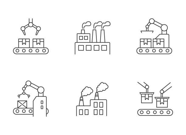 fabryczny piksel produkcyjny idealny liniowy zestaw ikon - produkować stock illustrations