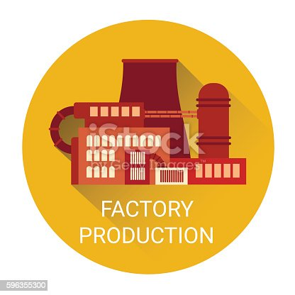 Factory Production Plant Icon Stock Vector Art & More Images of Abstract 596355300