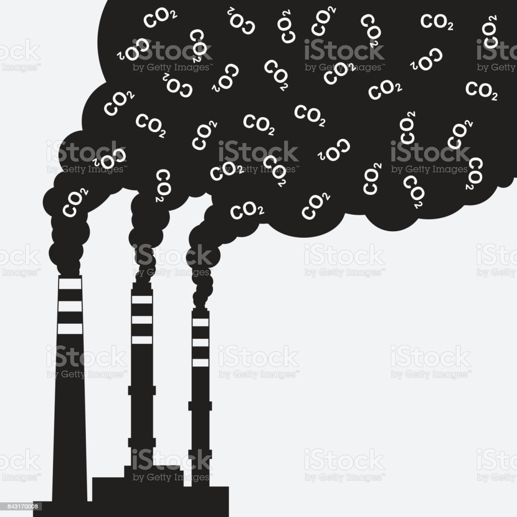 Factory silhouette with chimney polluting CO2 cloud smoke vector art illustration