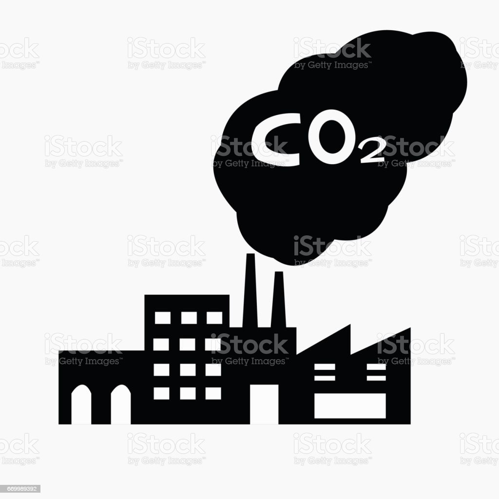 Factory silhouette with chimney polluting CO2 cloud vector art illustration
