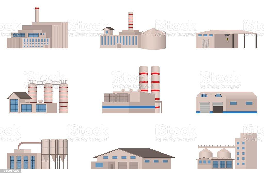 Factory vector icon set. vector art illustration
