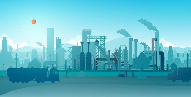 Factory Industrial factory with a sky as a backdrop. oil and gas stock illustrations