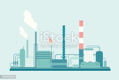 A detailed illustration of an Oil Refinery. This is an easy to edit vector illustration with CMYK color space. Each element of the factory is on a separate layer and can be easily edited.