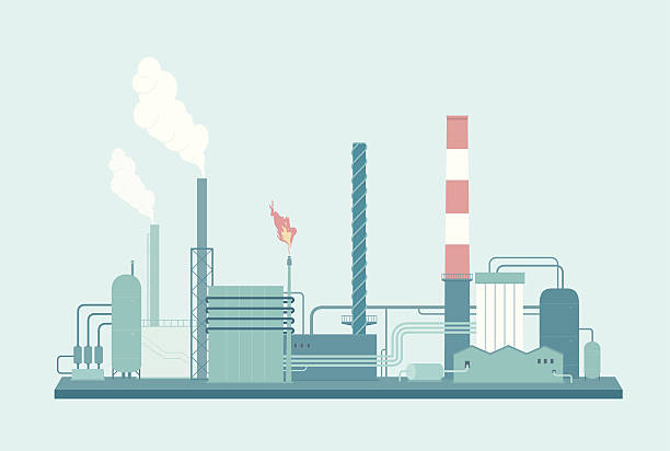 Factory A detailed illustration of an Oil Refinery. This is an easy to edit vector illustration with CMYK color space. Each element of the factory is on a separate layer and can be easily edited. oil and gas stock illustrations