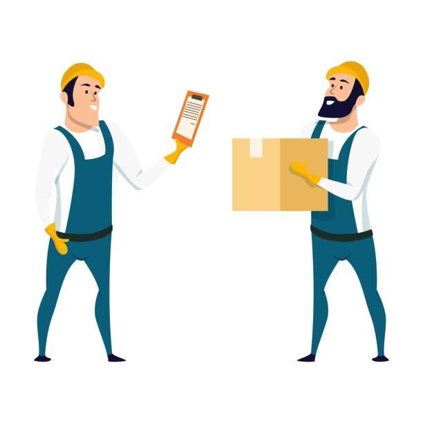 stockillustraties, clipart, cartoons en iconen met fabrieks magazijn werknemer controledoos met lijst - warenhuismedewerker