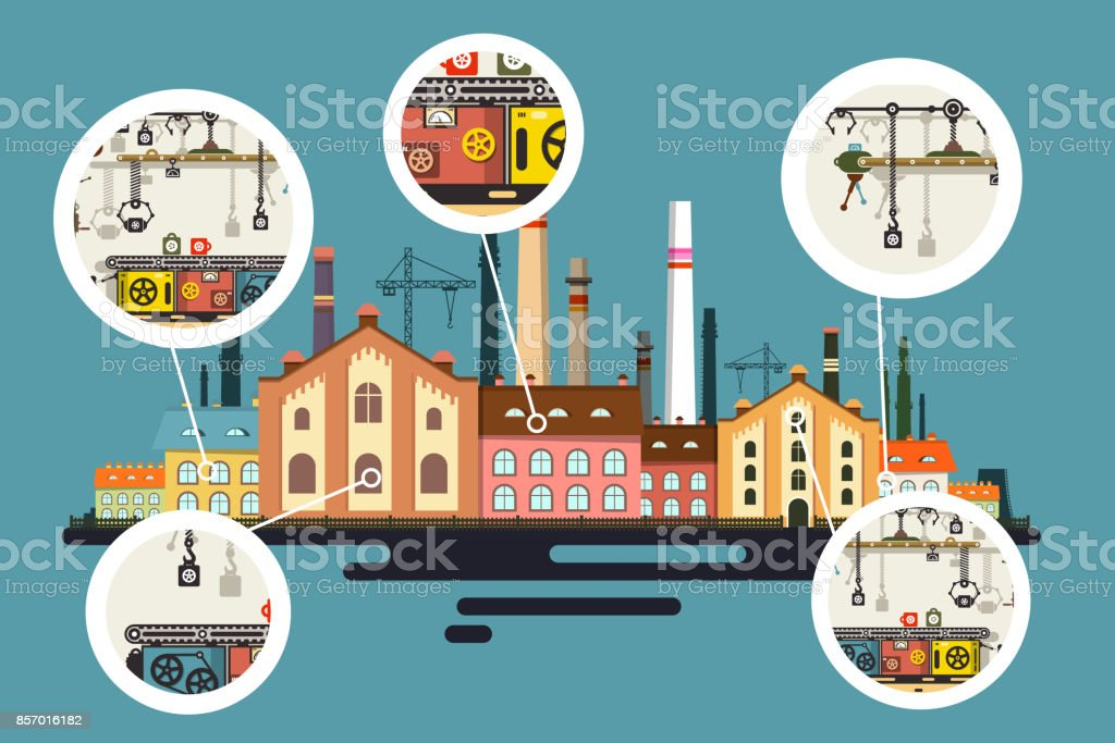 Factory with Line of Production in Bubbles vector art illustration