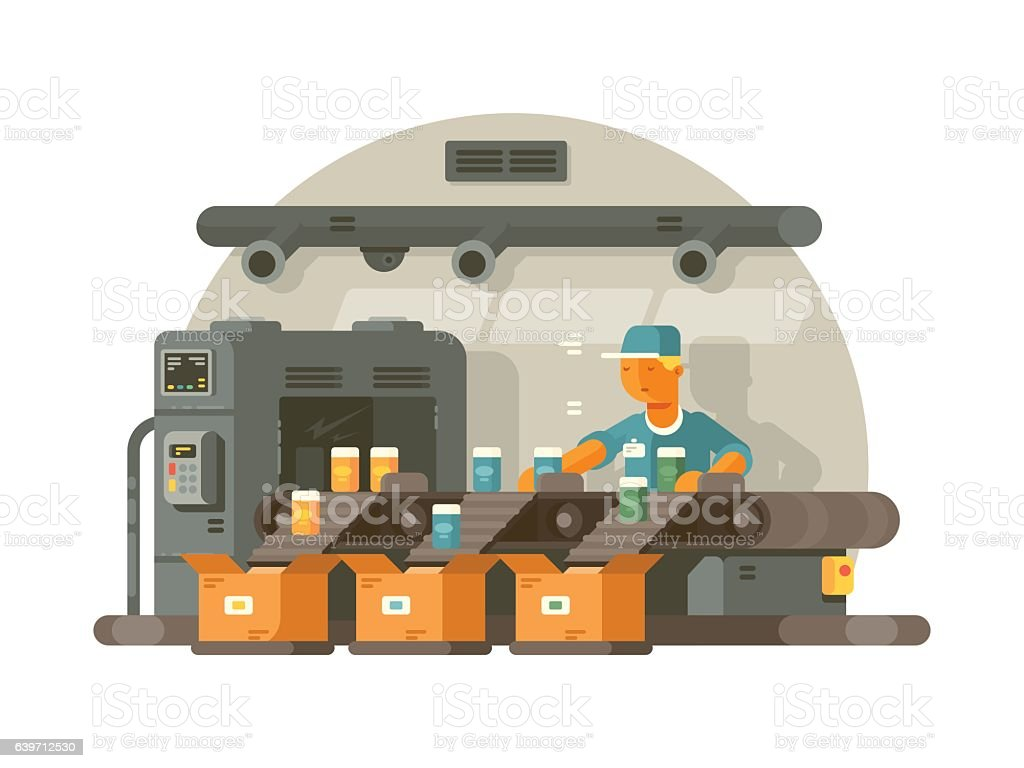 Factory worker standing on line vector art illustration