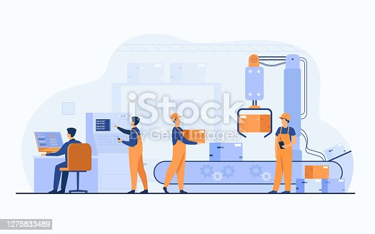 istock Factory workers and robotic arm removing packages from conveyor 1275833489