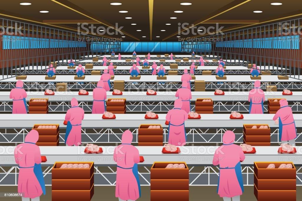 Fabrieksarbeiders werkt in een fabriekvectorkunst illustratie