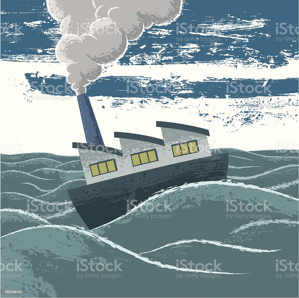 Factory-boat royalty-free stock vector art