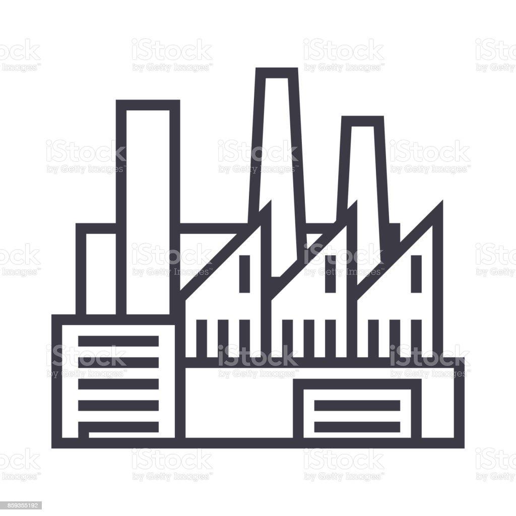 Fabrik Produktion Rohre Mit Rauch Vektor Liniensymbol Zeichen ...