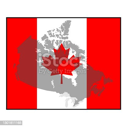 istock Faded Canada Map background within a square Canadian maple leaf red and white flag 1301811165