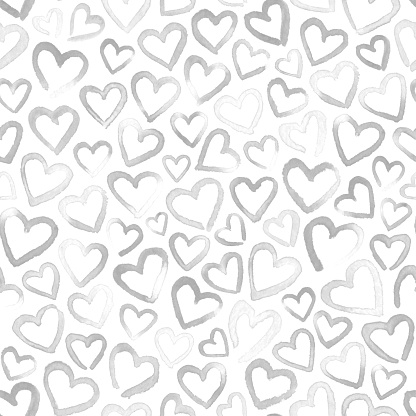 Faded hand painted watercolor  hearts isolated on white background - unique modern minimalistic imperfect light handmade graphic art in shades of black and white with many imperfections in vector