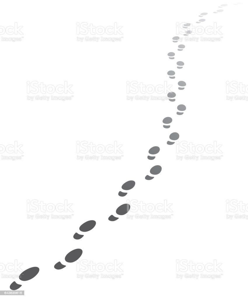 Faded Human Foot steps walking away.