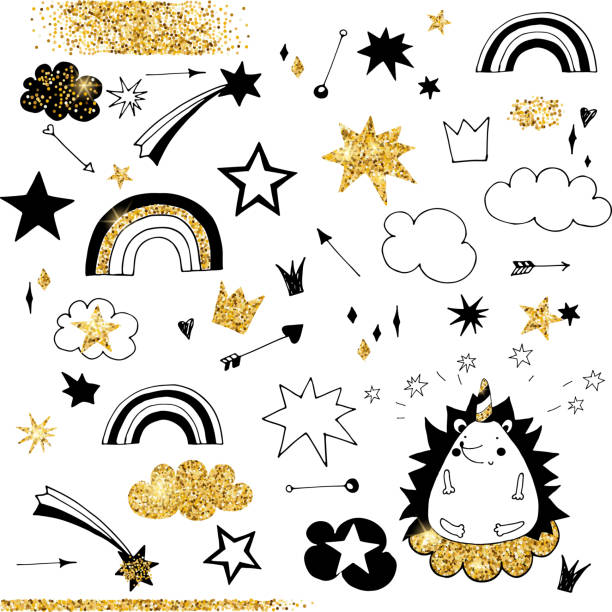 faerie doodle black and gold elements, rainbow, stars and clouds - illustrazione arte vettoriale