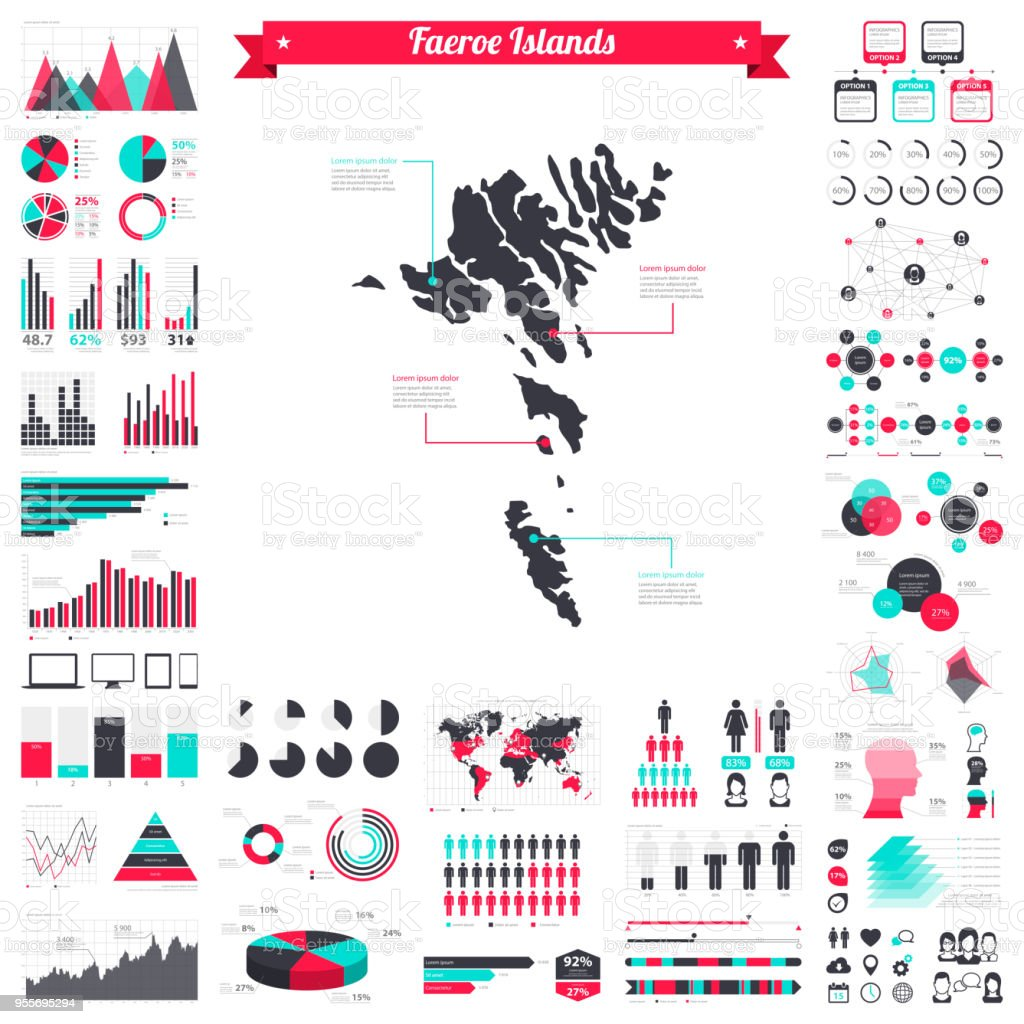 Färöer Inseln Karte.Färöer Inseln Karte Mit Infografik Elemente Große Kreativgrafikset