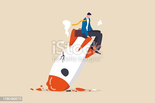 istock Fail start up business, new business risk or unexpected entrepreneur bankruptcy concept, depressed businessman company owner sitting on crash launching space rocket metaphor of new business failure. 1290480010